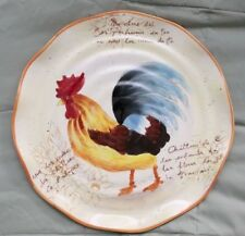 "11"" Country Rooster Plate Hand Crafted with Scalloped Edges"