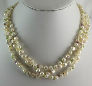 """Three Strand Baroque Pearl 18"""" Necklace with Light Colored Glass Beads"""