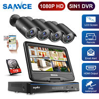 "Refurbished SANNCE 1080P HD 4CH DVR 10.1"" Monitor 2MP Security Camera System 1TB"