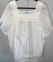NWOT J. McLaughlin White With Multicolored Stripes Shirt Top Blouse SZ Large