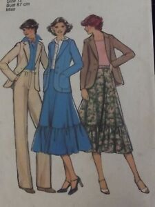 Vintage 1978 Sewing Pattern Outfits- Style 2186 size 12 Bust 87 cm
