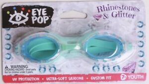 Eye Pop Rhinestones & Glitter Youth Swim Goggles 7+/ UV Protection Turquoise