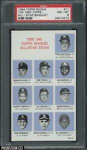1964 Topps 62 All-Star Banquet #11 w/ Boog Powell Whitfield Allen Luplow PSA 8