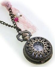 Anhänger Uhr Kettenuhr Sonne Bronze farben Antik Look zum klappen Charm Neu