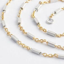 Silver Filled Women Gold plated Mens Unisex Link Wave Chain Necklace