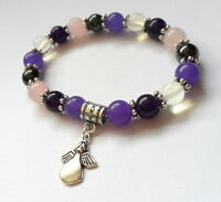 amethyst jade opal rose quartz healing gemstone bracelet with angel charm