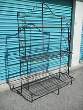 """Great Vintage French Wrought Iron & Brass Bakers Rack Graduated Shelves 76 1/2""""h"""