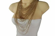 Women Gold Metal Chains Long Necklace Jewelry Multi Strings Waves + Earrings Set