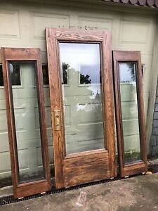 ~ Antique Oak Door And Sidelights.  Refinished, Beveled Glass. All Hardware.