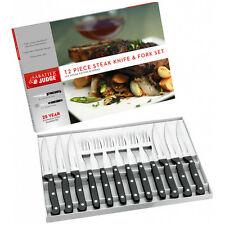 Judge IV42 Steak Fork and Knife Set, Black - 12 Pcs
