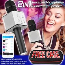Q7 Wireless Bluetooth Karaoke Microphone Speaker Handheld Mic USB Player UK