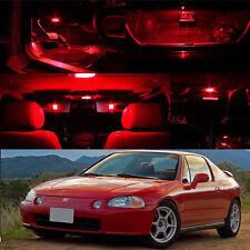 93-97 Honda Civic Del Sol RED Interior LED Bulb Xenon Package Dome Trunk Plate