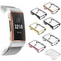 For Fitbit Charge 3 Case Soft TPU Plated Screen Protector Rugged Cover 3 Pack