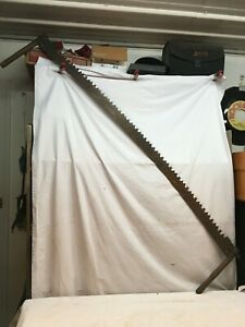 VINTAGE TWO MAN CROSSCUT LOGGING SAW  66 in Hunting Cabin Decor