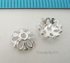 6x BRIGHT STERLING SILVER FLOWER BEAD CAP 7.1mm SPACER BEAD #2478