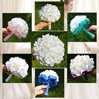 Wedding Party Bridesmaid Bouquets Artificial Flower Rose Ribbon Bridal Decor