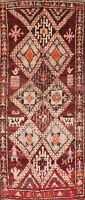 Vintage Tribal Geometric Moroccan Oriental Runner Hand-made WOOL Area Rug 5'x11'