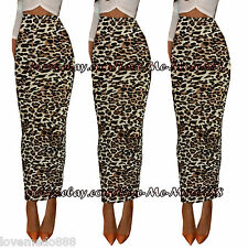 Womens Party Club Casual Tight Slim Leopard Pencil Basic Maxi Long Skirt Dress