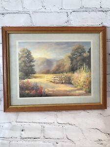 Country Road Framed And Matted Vintage Lithograph Print By Diana Reineke