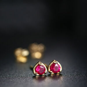 Vintage Simple Earrings Solid 18K Yellow Gold 3.5mm Round 0.4ct Ruby Gemstone