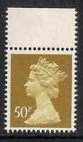 GB 1990 sg X922 50p Ochre 2 bands booklet stamp MNH