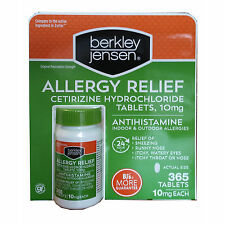 Berkley & Jensen 10mg Cetirizine Hydrochloride Antihistamine 365 Ct allergy