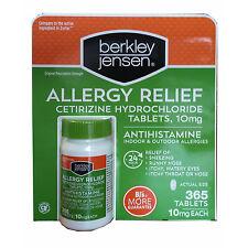 Berkley & Jensen 10mg Cetirizine Hydrochloride Antihistamine 365 Ct allergy