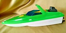 American Plastic Toy Speedboat Outboard Motor Green Yellow Blue Windshield Usa.