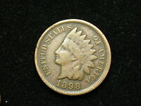 VERY FINE 1898 INDIAN HEAD CENT PENNY w/ PARTIAL LIBERTY & SOME DIAMONDS #13v