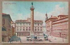 Old Postcard Roma Piazza Colonna Rome Italy Cartolina Postale Unposted Linen