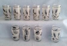 Vintage 10 LIBBEY FROSTED Glasses 7 WHEAT & 3 LEAF Pattern Juice Circa 1960's