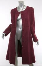 CHANEL 01A Womens Burgundy Tweed CASHMERE CC-Button Long Coat Jacket 46/14