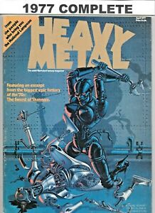 Heavy Metal 1977 #1 thr 9 April May June July Aug Sept Oct Nov December FN to VF