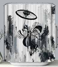 Asian Art Black & White Geisha Umbrella Fabric SHOWER CURTAIN 70x70 Japanese Ink