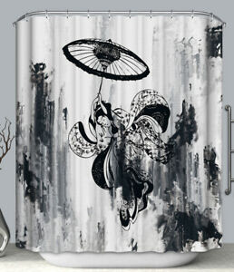 Asian Art Black & White Geisha Umbrella Fabric SHOWER CURTAIN 70x70 Japanese Ink
