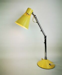 Vintage Retro Mid Century 1970s Chrome Pifco Articulated Desk Lamp in Yellow