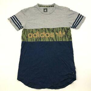 Adidas Shirt Size Small S Gray Blue Camo Short Sleeve Tee Trefoil Logo Top Green