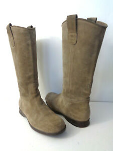 HOGAN WMNs EUR 36.5 US 6.5M 7M Taupe suede leather Pull on Riding Boots ITALY