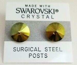 Olive Green Shimmer Earrings 11mm Crystal Round Made with Swarovski Elements