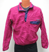 vtg Patagonia HOT PINK SNAP-T FLEECE Jacket S/M 90s 4-Snap Sweater purple trim
