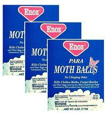 Enoz Para Moth Balls - 4 Oz each No Clinging Odor (3 Lot) Brand New In Box