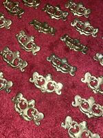 Antique Vintage Chippendale Style Brass Ornate Drawer Pull Handle Hardware 21pc