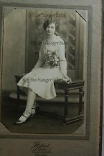 1920s Lucille Olson Graduation Photo Girl Sitting on Bench Flowers Diploma 4x6