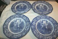 """Lot of 4 Liberty Blue Staffordshire Historic Colonial Scenes 9-3/4"""" Dinner Plate"""