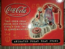 Vintage Coca Cola Coke Animated Light Up Polar Bear Telephone Phone with box