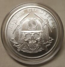 2018 Silver Shield 1oz Miners Go Deeper Skull Headlamp 1oz Silver Round Coin
