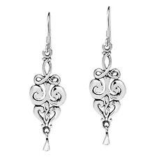 Elegant Vintage Swirls Drop Sterling Silver Dangle Earrings