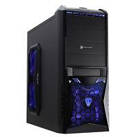 CiT Vantage Black Gaming PC Case No PSU Blue Led 120mm Fan