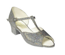 New Ladies or Girls Ballroom Dance Shoes Sz 2.5  Silver, Suede Sole, Latin,