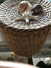 Last ones!  Tall Seagrass SEASHELL BASKET with lid